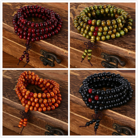 108 beads 8mm Natural Sandalwood Buddhist Buddha Wood Prayer Beads  Unisex Bracelets & Bangles jewelry