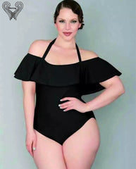 Plus Size Swimwear One Piece Swimsuit Velvet Monokini Off The Shoulder Bikini Push Up SwimSuit