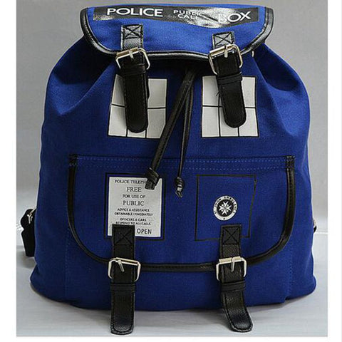 Doctor Who Canvas Printed  Tardis  Public Call Police Box Backpack