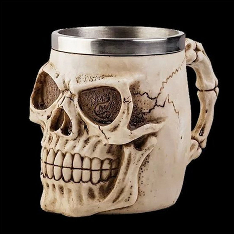3D Skeleton Coffee Tea Mug Cup Skull Bad Ass Biker Mug