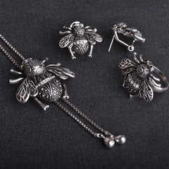 Vintage Silver Plated Insect Bees Jewelry Sets For Women Adjustable Chain Pendant Necklace Animal Stud Earring Ring FREE SHIPPING