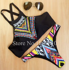 High Neck Push up Bikini Set Geometry Black Swimwear Female Slim Print Swimsuit Bikini Brasilian Style  FREE Shipping  🚚