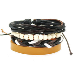 Leather bracelet 4 Pcs Multi-layer bead bracelet Unisex jewelry