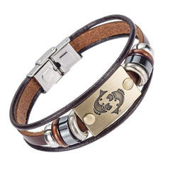 Europe Fashion 12 zodiac signs Bracelet With Stainless Steel Clasp Leather Bracelet for Men