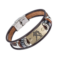 12 zodiac signs Bracelet With Stainless Steel Clasp Leather Bracelet for Men