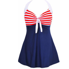 Sexy Plus Size Stripe Padded Halter Skirt Swimwear Women One Piece Suits Swimsuit Beachwear Bathing Suit Swimwear Dress M To 4XL Free Shipping