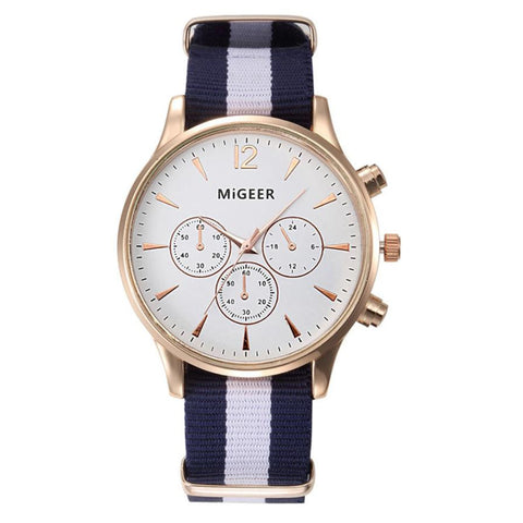 MIGEER Luxury Fashion Black & White Strap Watch Men Quartz Watch