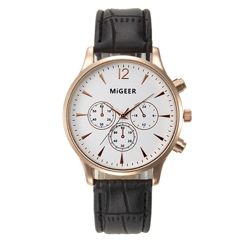 Elegant Unisex Watch Leather Quartz Sport Watch Men & Women