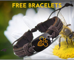 FREE Lovely Bee Leather Charm Bracelet  Handmade Bracelets