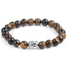 Antique Silver Plated Buddha Bracelet Tiger Eye Lava Natural Stone Bracelet