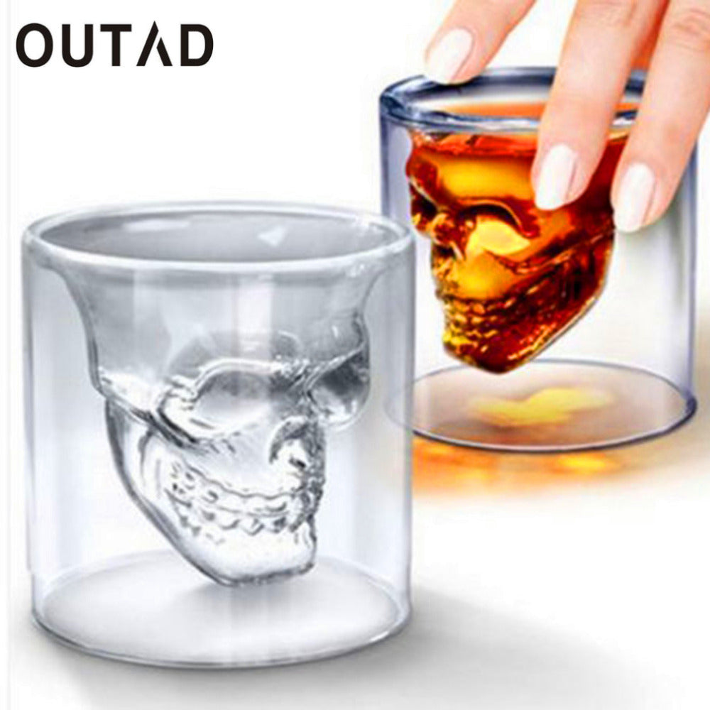 Vodka whiskey Beer Tea Glass Cup Wine Coffee Mug Doomed Skull Head Different sizes from shot glass to coffee mug size