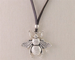 Silver Bee  Pendant Necklace With Adjustable Leather Cord  Handmade Jewelry FREE SHIPPING