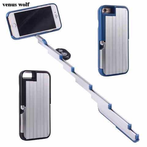 SELFIE STICK CASE for Apple iPhone 6 6S 6 Plus 6S Plus 7 7 Plus Bluetooth Remote Control Foldable Extendable 3 in 1 Selfie Stick Phone Case