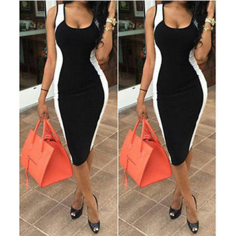 Sexy Black White Spliced Dress