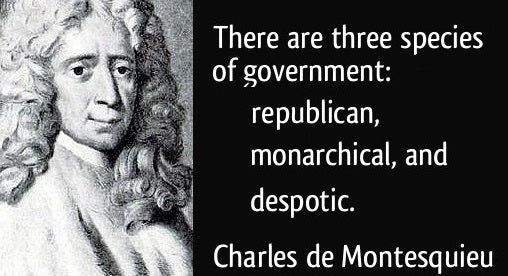 Montesquieu's 3 Types of Governments: Republics, Monarchs, & Despots who rule through Executive Orders