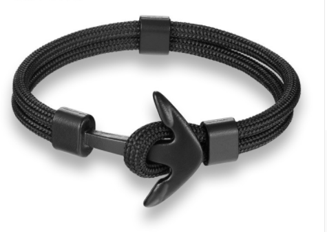 Men's Black Nylon Anchor Bracelet