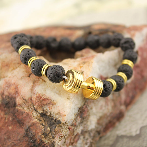 Natural Laval Stone Bead Bracelet with Gold Tone Dumbell Bracelets