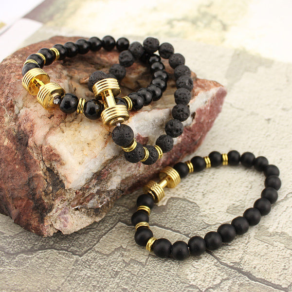 Gold Tone Dumbbell Bracelet with Black beads