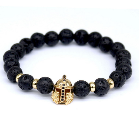 Lava Bead and Gold Spartan Helmet Bracelet