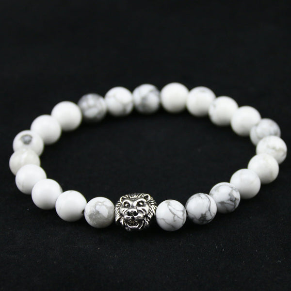 8mm Natural White Howlite Stone Beads Silver Lion Head Bracelets