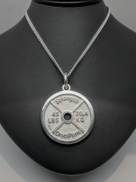 Sterling Silver - 45 Pound Plate Pendant - Strength and Discipline