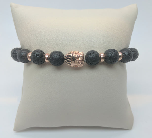 Lava Bead and Pink Buddha Head with Black Stones Bracelet