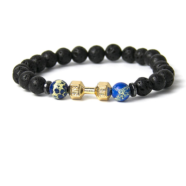 Mens Bracelet Natural Stones Gold Live Lift Dumbbell Bracelet Lava and Onyx Beads
