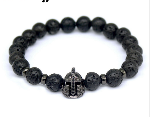 Lava Bead Bracelet with Black Spartan Helmet