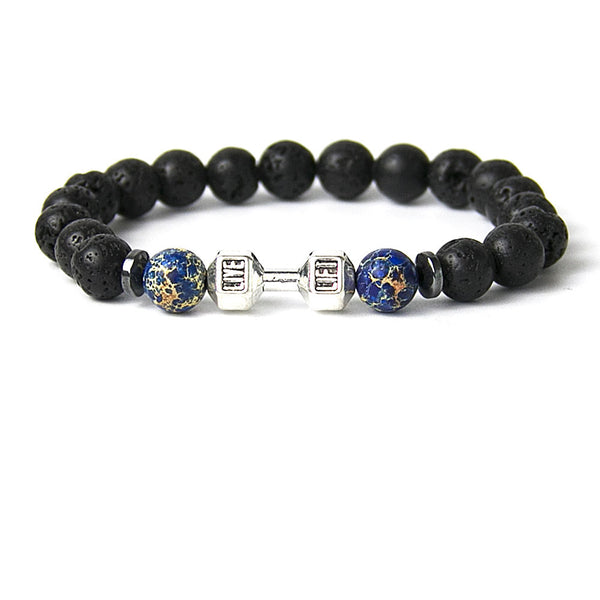 Mens Bracelet Natural Stones Silver Live Lift Dumbbell Bracelet Lava and Onyx Beads