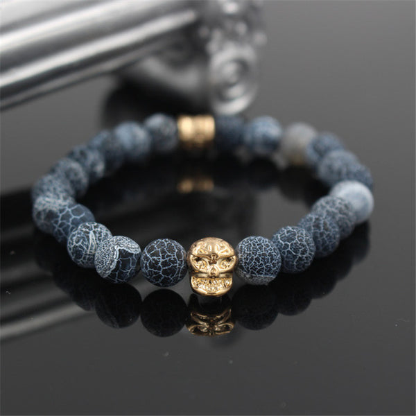 Skull Head - Yellow Tone with Natural Stone Bracelet