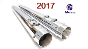 "Ver. 2.0 Mutazu MF-06N-CC 4"" Megaphone Slip-On Mufflers for Harley Touring 2017 & Up"
