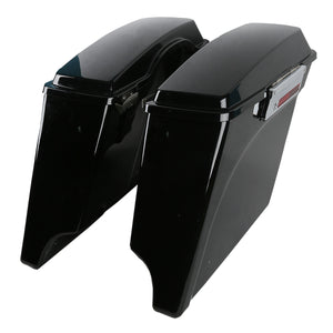 "5"" Vivid Black Stretched Extended Hard Saddlebags for Harley Touring 1993-2013"