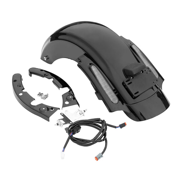 Black Rear CVO Style Fender System W/ light For Harley Touring Electra Glide 2009-2013