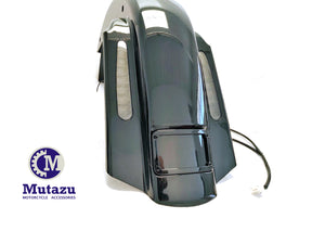 "Mutazu No Cut Out CVO 4"" Extended Rear Fender with LED & Wire Harness for 93-08 Harley Touring"