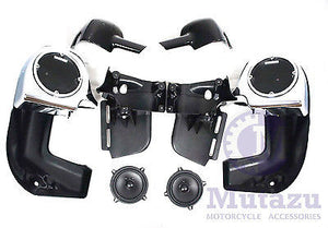 "Chrome Face Lower Vented Fairing Kit with 5.25"" Speakers (1983-2013)"