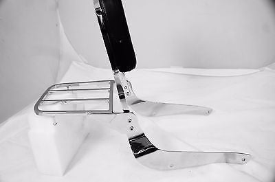 Mutazu Chrome Sissy Bar Backrest w/ Luggage Rack,Suzuki C50 VL800 M50 Volusia