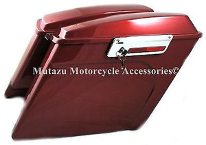 "Mutazu 4"" Fire Red Extended Saddlebags for Harley Touring Models Road King Glide"