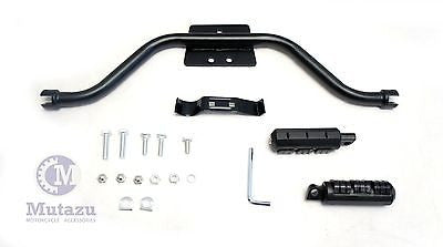 Black mustache highway bar cats paw foot pegs kit fit