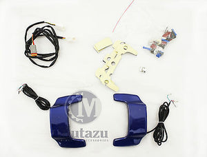 Cobalt Blue Hard saddlebag lid LED Spoiler kit fit Harley Touring Saddle bags