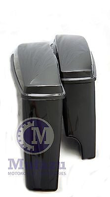 Vivid Black 2 in 1 Extended Hard Saddlebag for 2014 up Harley Touring FLH FLT