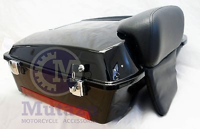 Vivid Black Chopped Tour Pak Trunk with Chopped Backrest for HD Harley Davidson