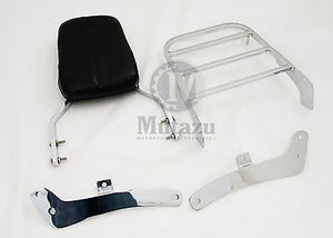 Mutazu Chrome Sissy Bar Backrest &Luggage Rack for Yamaha Virago XV 535 400