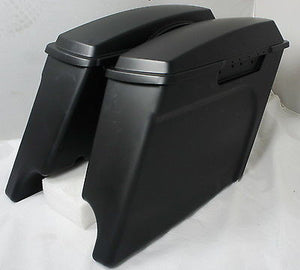 "4"" Matte Black Extended Touring Hard bags Saddlebags fits Harley HD Stretched"