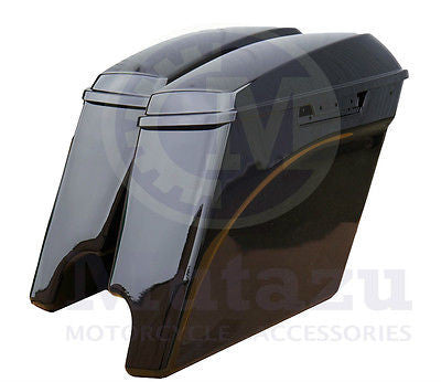 Mutazu Vivid Black Stretched Extended Saddlebags for 2015 2016 Harley FLH FLT