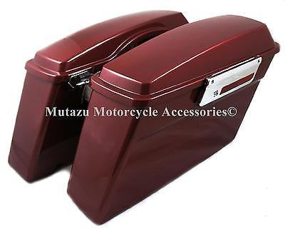 Mutazu Complete Fire Red Stock Hard Saddlebags for Harley Touring FLHR FLTR FLHX