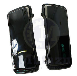A Pair of Glossy Vivid Black Hard Saddle bag Lids for Harley HD Touring FLH FLT