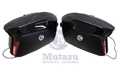 Large Mutazu Universal Detachable Hard Saddlebags in Vivid Black