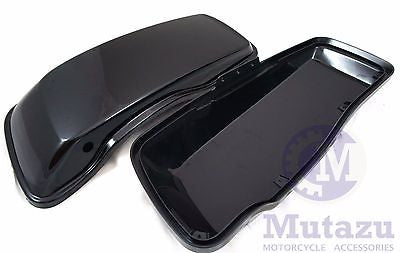 Mutazu Vivid Black Hard Saddlebag Lids for 2014 2015 Harley Touring FLH FLT FLTR