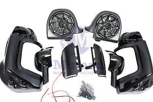 "Mutazu 6.5"" Speaker Pod Lower Vented Fairing Kit Vivid Black for Harley Touring"