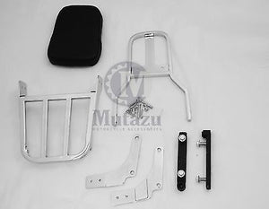 Mutazu Chrome Sissy Bar Backrest & Luggage Rack for Suzuki VZ800 MARAUDER
